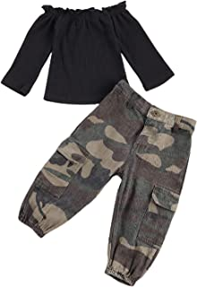 Sponsored Ad - MXVPY Kids Girl Shoulder Pit Strip Solid Color Long Sleeve Top Camouflage Leopard Tie-DyeTrousers with Pock...