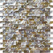 Art3d Natural Mother of Pearl Oyster Mini Brick Shell Mosaic Tile for Bathroom/Kitchen Backsplashes 6 Sq Ft Pack of 6
