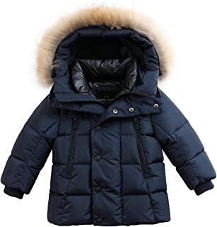 Boys' Lightweight Packable Hooded Down Puffer Jacket Raccoon Fur Collar Mid-Long