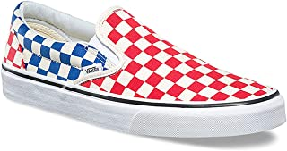 red white and blue slip on vans