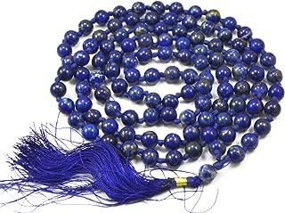 Amazing India 8.5mm Lapis Lazuli Semi Precious Gemstones 108 Buddhist Prayer Rossary Beads Mala Necklace
