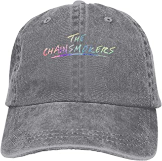Chainsmokers Adjustable Hip-Hop Cotton Washed Denim Cap Hat Black
