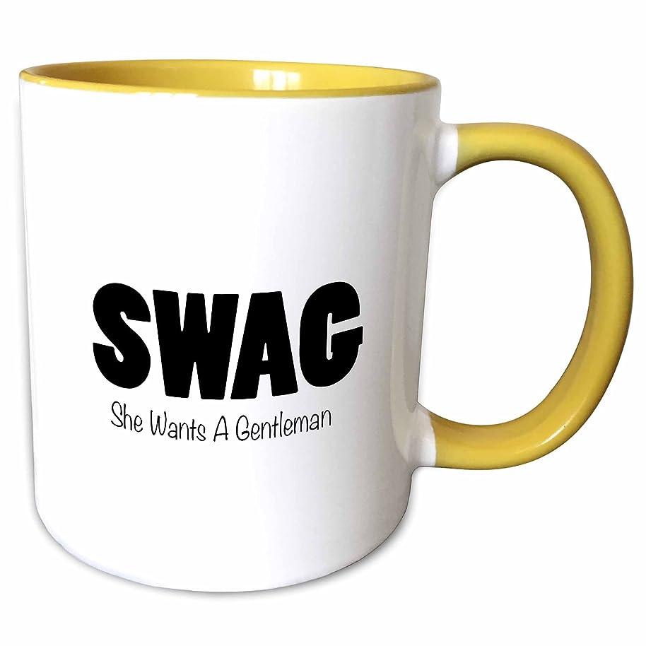 3dRose Tory Anne Collections Funny Acronyms - SWAG - SHE WANTS A GENTLEMAN - 15oz Two-Tone Yellow Mug (mug_221065_13)