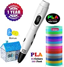 3D Printing Pen, Parner Professional 3D Drawing Pen with Led Display, Packed 16 Color PLA Filament Refills, Safe and Easy to Use 3D Writing Pens for Kids and Adults