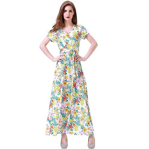 bea0851aa60 Aphratti Women s Maxi Dresses Short Sleeve Vintage Floral Print Faux Wrap V  Neck Summer Dress