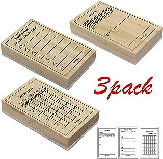 HAN SHENG 3 Pcs Wooden Seal Stamp Daily Plan Weekly Plan Monthly Plan Seal Stamp for Card Making and Scrapbooking