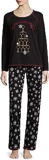 Sleep Chic Women's Santa's Helper for The Wine Lover Knit Pajamas Set