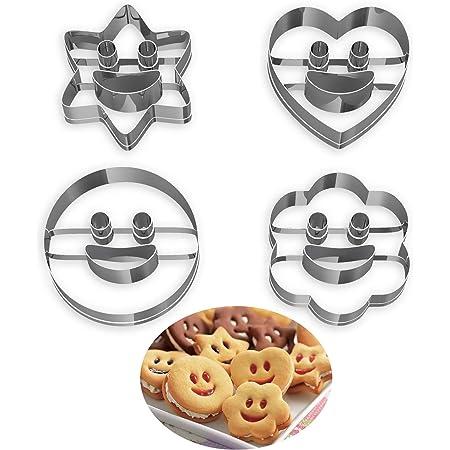 Lot de 4 Emporte Piece Patisserie, Moule à Biscuits en Métal Emporte-Pièces en Acier Inoxydable Fondant Biscuit Cookie Pâtisserie en Forme de Cœur, Étoile, Cercle, Fleur, Noël