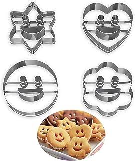 Lot de 4 Emporte Piece Patisserie, Moule à Biscuits en Métal Emporte-Pièces en Acier Inoxydable Fondant Biscuit Cookie Pât...