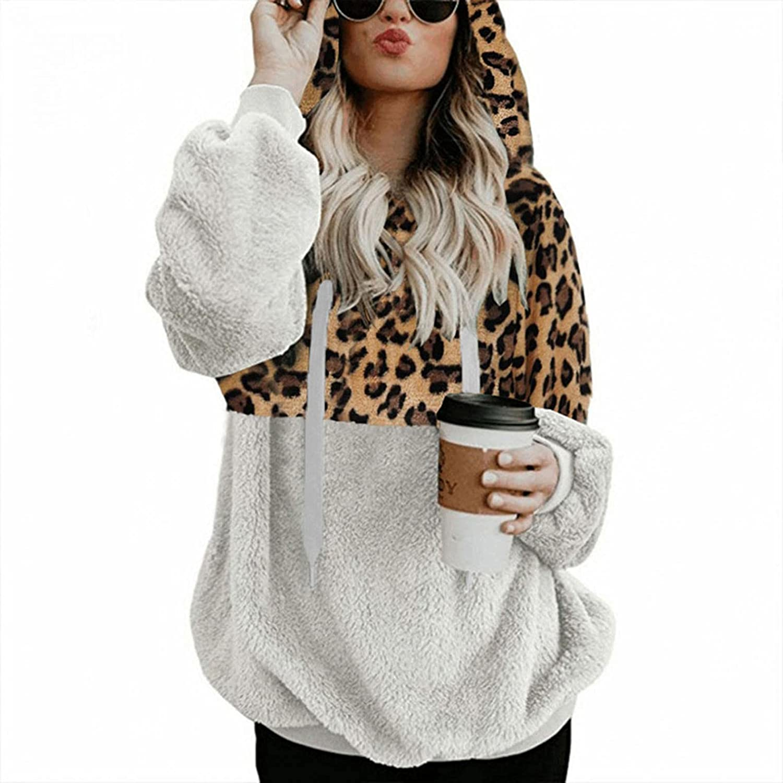 Sweatshirt for Women Trendy, Women Leopard Print Hoodie Comfy Fu