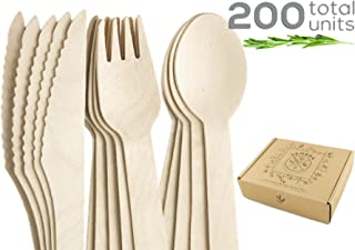 Sembra Compostable Wooden Cutlery Set - Biodegradable Disposable Bamboo Utensils and Plastic Alternative Flatware - Eco Friendly Party Silverware -100 Forks 50 Spoons 50 Knives in Chic Container