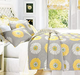 Cozy Line Home Fashions Anya Floral Bedding Quilt Set, Grey Yellow White Sunflower Flower Printed Reversible Coverlet Bedspread for Kids Women (Yellow Sunflower, Full/Queen - 3 Piece)
