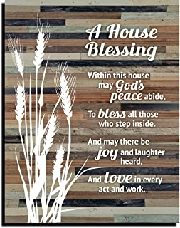 House Blessing Rustic Wood Plaque - Keyhole for Hanging 11.75 x 15 Inch | Vertical Plaques Wall Art Decoration for Your Ho...