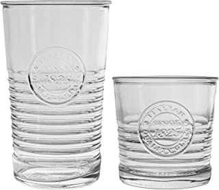 Bormioli Rocco Officina 1825 Zerfurchter Whiskey Tumblers und Highball-Cocktail-Gläser - 300ml, 475ml - 12er Set