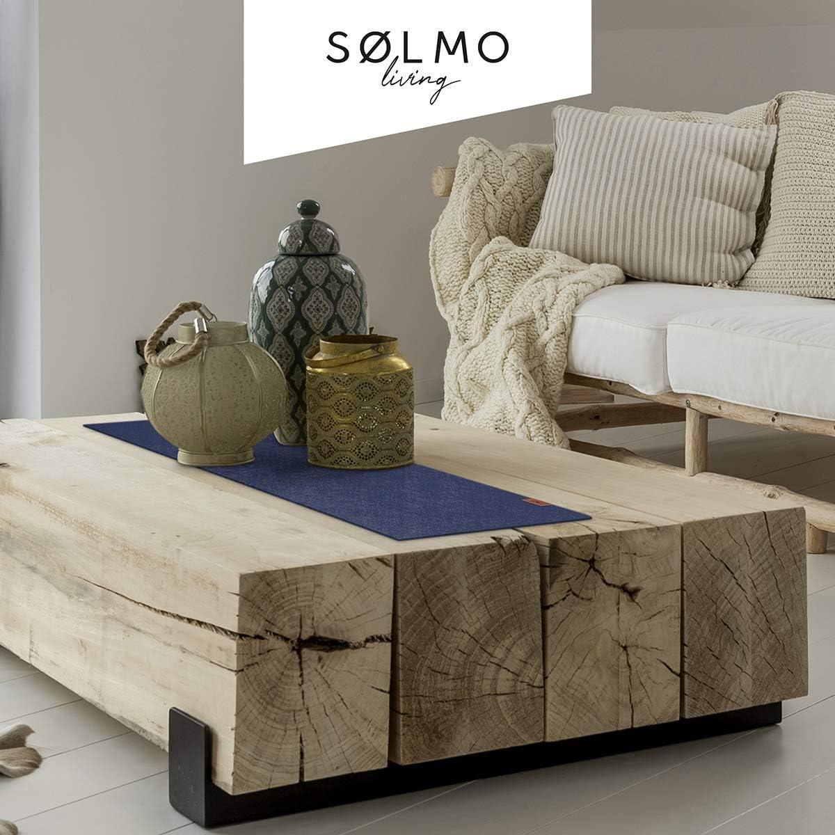 con etiqueta de cuero de fieltro Camino de mesa de S/ølmo camino de fieltro para oto/ño o Navidad mesa escandinava lavable azul oscuro 100 x 30 cm