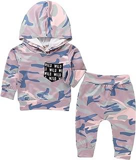 新生儿女婴迷彩外套长袖连帽衫迷彩裤子 2 件套衣服套装
