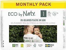 Eco by Naty Baby Blöjor, Storlek 1, 100 St, Växtbaserad med 0% Oljebaserad Plast mot Huden, Ett Månadslager