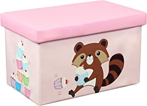 Otto & Ben Folding Storage Ottoman Chest with Foam Cushion Seat, Washable Faux Leather Foot Rest Stools for Kids, Raccoon and Cupcake