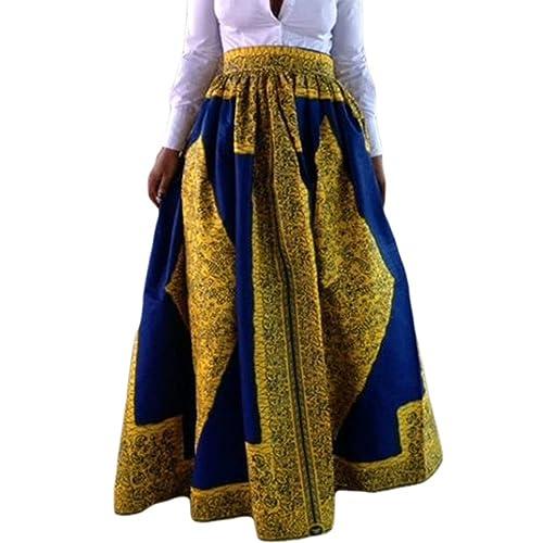 1ef651cbf9 Dearlovers Womens High Waisted Casual Printed A Line Maxi Skirts Pockets
