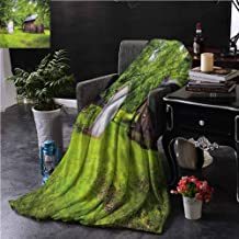 Outhouse Couch Throw Blanket Double-Sided Printing Hut Cottage in Forest Couch Bed Napping Reading Recliner W60 xL50