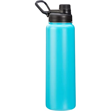 Amazon Basics Stainless Steel Insulated Water Bottle with Spout Lid – 30-Ounce, Teal