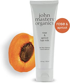 John Masters Organics - Rose & Apricot Hair Milk - Nourishing Leave-in Conditioner, Nourishing Treatment, & Light Hold Styling Product Infused with Essential Oils - 4 oz