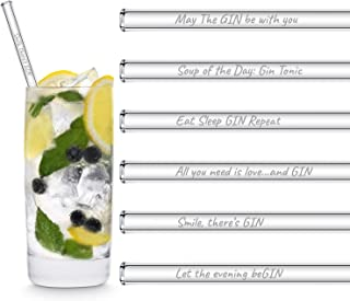 HALM Glasstrohhalme Gin Sprüche Edition 6x 20cm mit englischen Gin-Sprüchen Strohhalm Trinkhalm Glasstrohalm Gin-Tonic Geschenk
