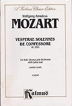 Vesperae Solennes De Confessore, K 339 (Kalmus Vocal Scores, K 6347)