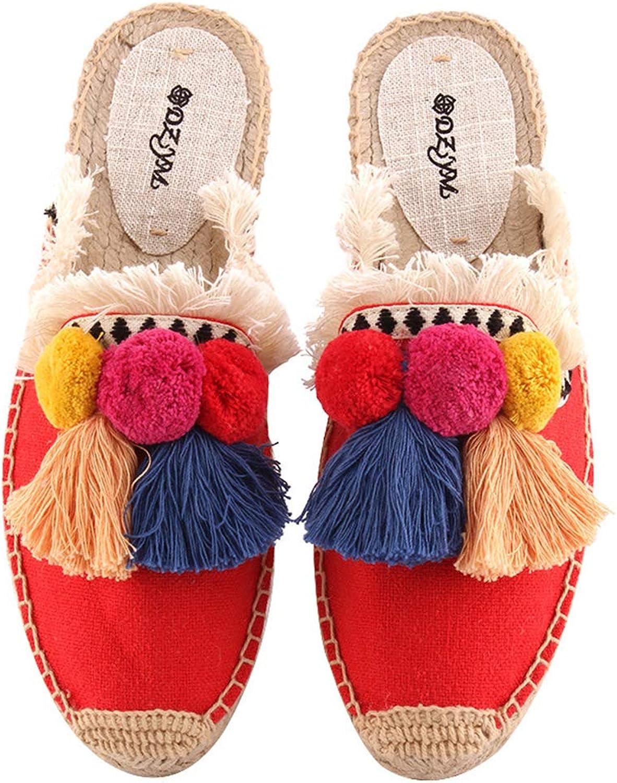 MINI Boutique Women Linen Slippers Tassel & Fluffy Ball Canvas Mule shoes Espadrilles Slides Fishermen shoes