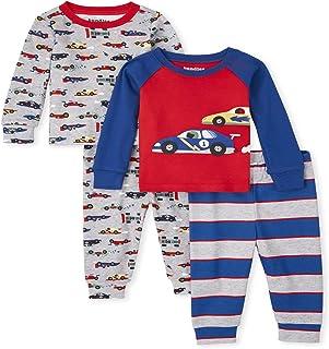 The Children's Place Baby Toddler Boy Race Car Snug Fit Cotton 4-Piece Pajamas, H/T Mist, 5T