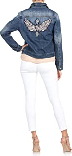 Miss Me Women's Angel Wings in Rose Gold and Silver Embroidered Denim Jacket