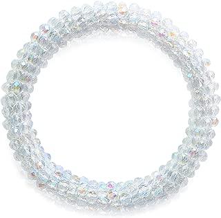 Gemstone Bead Stretch Bangle Bracelet for Women Crystal Beaded Bracelet Set, 17 Colors