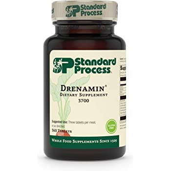 Standard Process Drenamin - Whole Food Antioxidant, Mood Support, Adrenal Support and Immune Support with Shitake, Alfalfa, Rice Bran, Riboflavin, Calcium Lactate, Choline - 360 Tablets