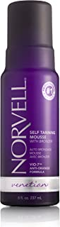 Norvell Venetian Sunless Self-Tanning Mousse with Bronzer - Instant Self Tanner - Natural Looking - Anti-Orange - Fake Tan for Bronzing Glow, 8 fl.oz.