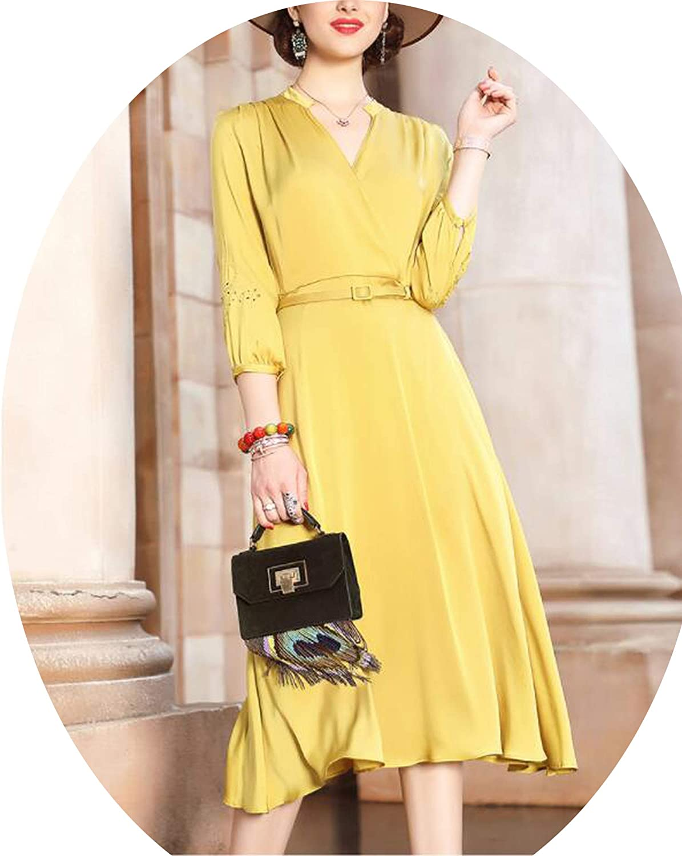 SAKURAII DUN 2019 Summer New Casual Dresses National Style Loose Large Yards Silk 100% Red Dress Big Size Womens