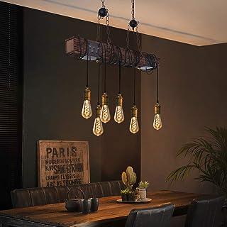 ZMH Lámpara colgante vintage rústica para comedor, lámpara de mesa de comedor retro con barra de madera de 80 cm, 6 bombillas E27, estilo retro industrial, lámpara de techo para comedor, cocina