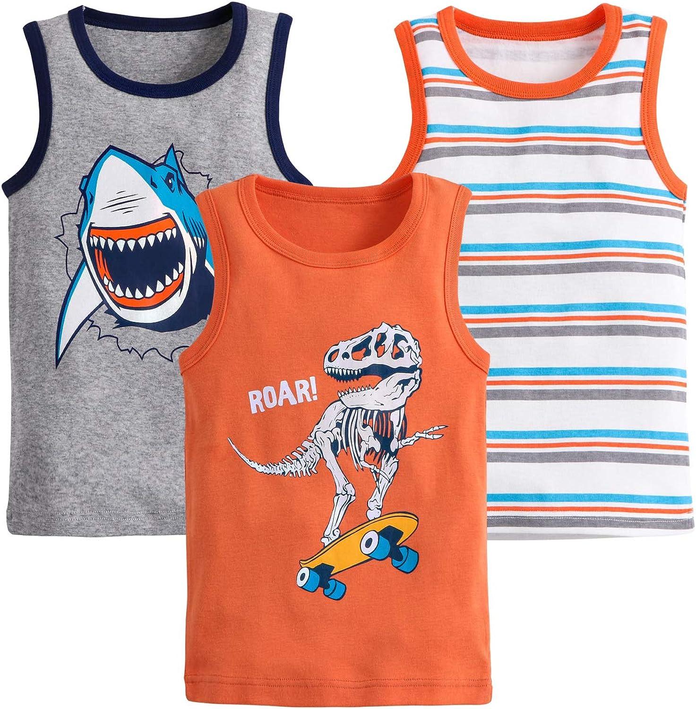 AQEACARMON Baby Boys' Tank Tops Dinosaur 3 Pack Tanks Set