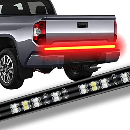 AUZKIN 60 Inches Tailgate Light Bar Double Row LED Light Strip Brake Running Turn Signal Reverse Tail Lights for Trucks Trailer Pickup Car RV Van Jeep Towing Vehicle,Red White,No Drill