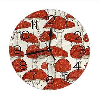 ムスカリアきのこ インテリア 掛け時計 壁掛け時計 丸い 飾る時計 連続秒針 サイレント ウォールクロック デジタル コンパクト ウォールクロック 部屋 客室 教室 部屋装飾 贈り物 新築 開業