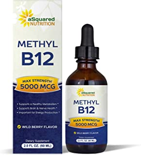 Vitamin B12 Sublingual Liquid Drops - 5000 MCG Supplement with Methylcobalamin (Methyl B-12) - Max Absorption B 12 to Incr...