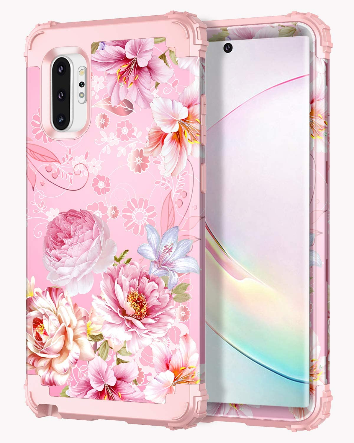 Hekodonk Compatible Note 10 Plus Case Floral Design Heavy Duty Shockproof Fullbody Protective Impact Hybrid Hard Cover for Samsung Galaxy Note 10 Plus Pink Flower