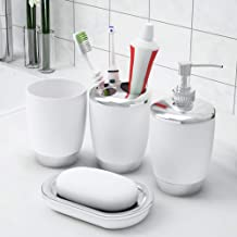Story at Home BS1114 Plastic Bathroom Accessories Set (1 Tumbler, 1 Liquid Soap/Lotion/Shampoo Dispenser, 1 Toothbrush Holder and 1 Soap Dish), White