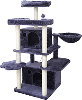 Hey-bro 54.3 inches Multi-Level Cat Tree Condo Furniture with Sisal-Covered Scratching Posts, 2 Bigger Plush Condos, Perch Hammock for Kittens, Cats and Pets