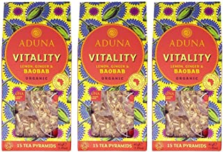 Aduna Vitality - Super-Tea with Organic Baobab, Ginger & Lemon - 15 Pyramids (Pack of 3)