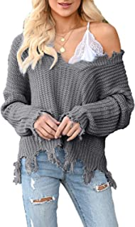 WFTBDREAM Womens Sweaters V Neck Long Sleeve Loose Fit Solid Colour Tops