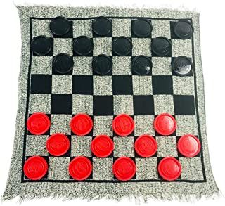 Yuanhe 3 in 1 Giant Checkers Set and Tic Tac Toe Game with Reversible Rug - Indoor and Outdoor Board Game for Family