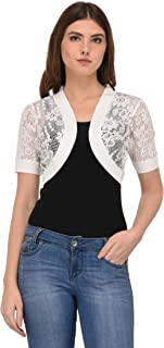 Espresso Women's Cotton Flower Lace Open Short Shrug