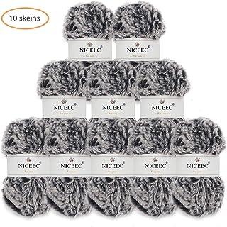 NICEEC 10 Skeins Soft Fur Yarn Super Chunky Faux Fur Yarn Fluffy Yarn 100% Polyester Yarn Fancy Eyelash Yarn for Crochet Knit-Total Length 10×32m(10×35yds,50g×10)-Black with White