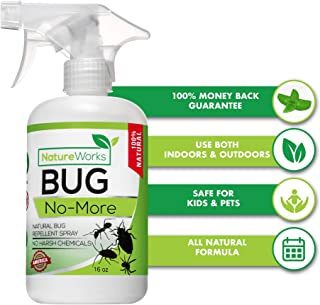 Bug- No-More | Natural Insect & Pest Control Spray | Ant Roach Termite Fly Mosquito Flea & Spider Killer | Organic Indoor Outdoor Pesticide I Home Patio Lawn & Garden Insecticide | Kid & Pet Safe 16oz