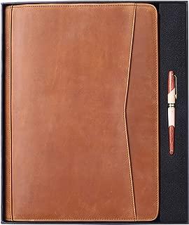 Gavarnie Genuine Leather Professioal Business Portfolio Padfolio Folder with Zipper,Gift for Business Men and Women,Brown